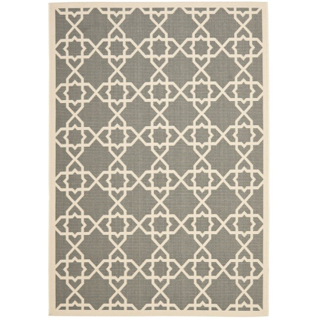 Safavieh Poolside Grey/ Beige Indoor Outdoor Rug (8' x 11'2)