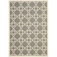 Safavieh Courtyard Geometric Trellis Grey/ Beige Indoor/ Outdoor Rug - 8' x 11'2