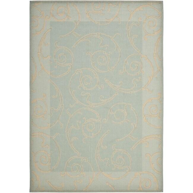 "Safavieh Courtyard Scrollwork Aqua/ Cream Indoor/ Outdoor Rug (4' x 5'7"")"