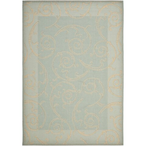 Safavieh Courtyard Scrollwork Aqua/ Cream Indoor/ Outdoor Rug - 8' x 11'2'