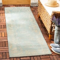 Safavieh Courtyard Scrollwork Aqua/ Cream Indoor/ Outdoor Rug - 8' X 11'