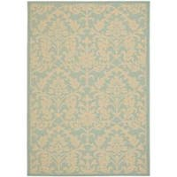 Safavieh Courtyard Damask Aqua/ Cream Indoor/ Outdoor Rug - 5'3 x 7'7