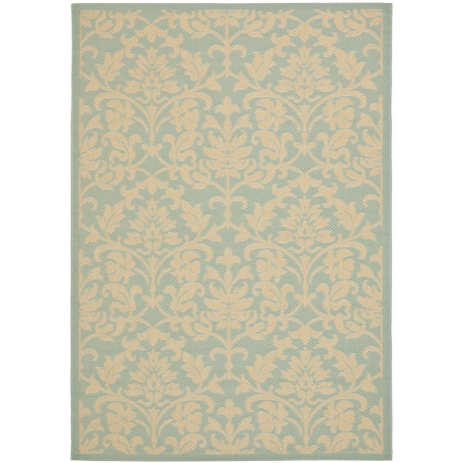Safavieh Courtyard Damask Aqua/ Cream Indoor/ Outdoor Rug (6'7 x 9'6)