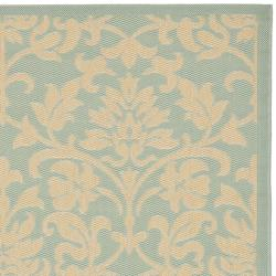 Safavieh Courtyard Damask Aqua/ Cream Indoor/ Outdoor Rug (6'7 x 9'6) - Thumbnail 1