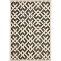 "Safavieh Courtyard Contemporary Black/ Bone Indoor/ Outdoor Rug - 2'7"" x 5'"