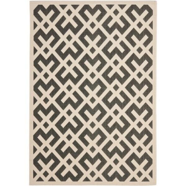 Safavieh Courtyard Contemporary Black/ Bone Indoor/ Outdoor Rug (2'7 x 5')