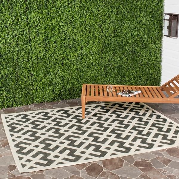 Safavieh Courtyard Contemporary Black/ Bone Indoor/ Outdoor Rug - 9' x 12'