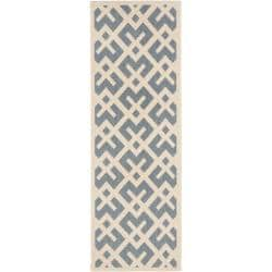 Safavieh Courtyard Contemporary Blue/ Bone Indoor/ Outdoor Runner Rug (2'4 x 6'7)