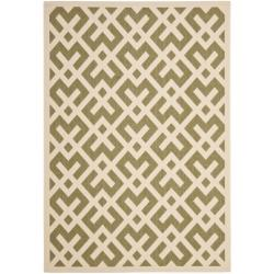 Safavieh Courtyard Contemporary Green/ Bone Indoor/ Outdoor Rug (5'3 x 7'7)