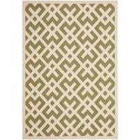 Safavieh Courtyard Contemporary Green/ Bone Indoor/ Outdoor Rug - 6'7 x 9'6