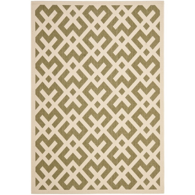 Safavieh Courtyard Contemporary Green/ Bone Indoor/ Outdoor Rug (8' x 11'2)