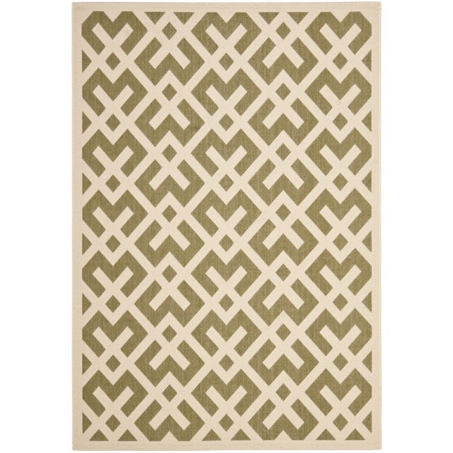 Safavieh Courtyard Contemporary Green/ Bone Indoor/ Outdoor Rug (9' x 12')
