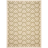 Safavieh Courtyard Contemporary Green/ Bone Indoor/ Outdoor Rug - 9' x 12'