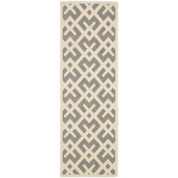 Safavieh Courtyard Contemporary Grey/ Bone Indoor/ Outdoor Rug (2'4 x 9'11)