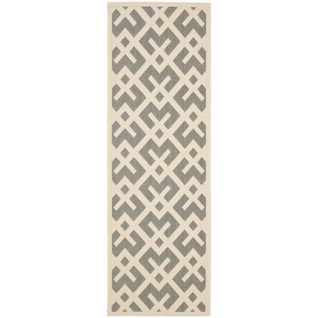 Safavieh Courtyard Contemporary Grey/ Bone Indoor/ Outdoor Rug (2'4 x 6'7)