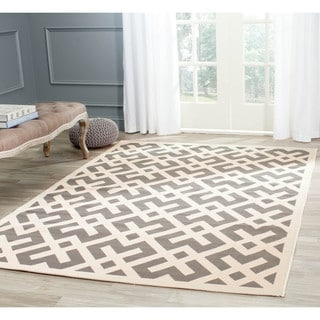 Safavieh Courtyard Contemporary Grey/ Bone Indoor/ Outdoor Rug (4' x 5'7)