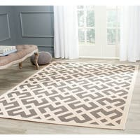 "Safavieh Courtyard Contemporary Grey/ Bone Indoor/ Outdoor Rug - 5'3"" x 7'7"""