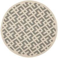"Safavieh Courtyard Contemporary Grey/ Bone Indoor/ Outdoor Rug - 5'3"" x 5'3"" round"