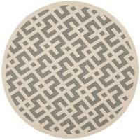 "Safavieh Courtyard Contemporary Grey/ Bone Indoor/ Outdoor Rug - 6'7"" x 6'7"" round"