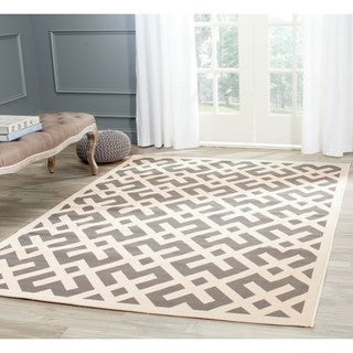 Safavieh Courtyard Contemporary Grey/ Bone Indoor/ Outdoor Rug (6'7 Square)