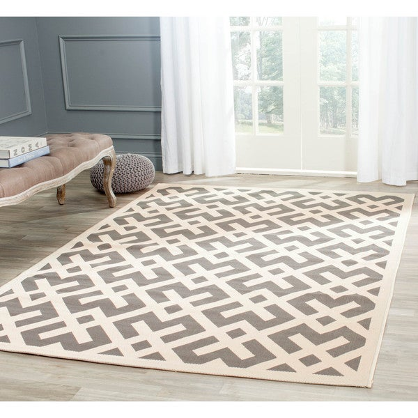Shop Safavieh Courtyard Contemporary Grey Bone Indoor Outdoor Rug
