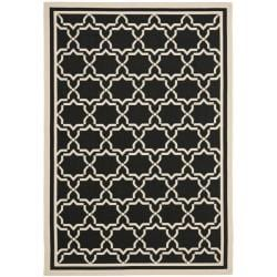 "Safavieh Courtyard Poolside Black/ Beige Indoor/ Outdoor Rug (5'3"" x 7'7"")"