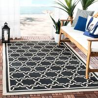 "Safavieh Courtyard Poolside Black/ Beige Indoor/ Outdoor Rug - 5'3"" x 7'7"""