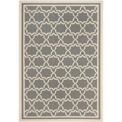 "Safavieh Courtyard Poolside Dark Grey/ Beige Indoor/ Outdoor Rug (4' x 5'7"")"