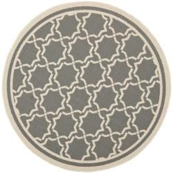 Safavieh Courtyard Poolside Dark Grey/ Beige Indoor/ Outdoor Rug (5'3 Round)
