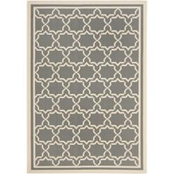 Safavieh Courtyard Poolside Dark Grey/ Beige Indoor/ Outdoor Rug (6'7 x 9'6)