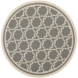 Safavieh Courtyard Poolside Dark Grey/ Beige Indoor/ Outdoor Rug (7' Round)