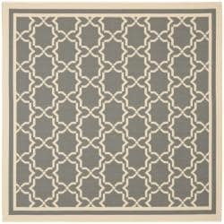 Safavieh Courtyard Poolside Dark Grey/ Beige Indoor/ Outdoor Rug (6'7 Square)