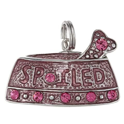 La Preciosa Silver Pink Enamel and Crystal 'Spoiled' Dog Dish Charm
