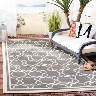 Safavieh Courtyard Poolside Dark Grey/ Beige Indoor/ Outdoor Rug (9' x 12')