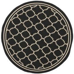 """Safavieh Poolside Black/Beige Indoor/Outdoor Rug (6'7"""" Round)"""
