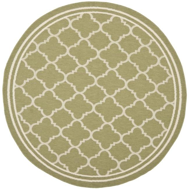 Safavieh poolside green beige indoor outdoor rug 5 3 round free