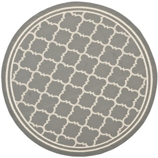 Safavieh Poolside Anthracite/ Beige Indoor Outdoor Rug (6'7 Round)