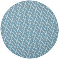 "Safavieh Courtyard Poolside Blue/ Beige Indoor Outdoor Rug - 6'7"" x 6'7"" round"