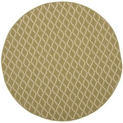 Safavieh Poolside Green/Beige Geometric Indoor/Outdoor Rug (6'7 Round)