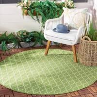 """Safavieh Poolside Green/Beige Geometric Indoor/Outdoor Rug - 6'7"""" x 6'7"""" round"""
