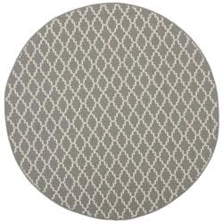 "Safavieh Poolside Anthracite/Beige Indoor/Outdoor Geometric Rug (5'3"" Round)"