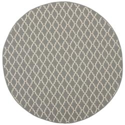 Safavieh Poolside Anthracite/Beige Border Indoor/Outdoor Rug (6'7 Round)