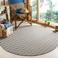 "Safavieh Poolside Anthracite/Beige Border Indoor/Outdoor Rug - 6'7"" x 6'7"" round"