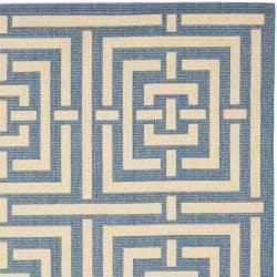 Safavieh Poolside Blue/ Bone Indoor Outdoor Rug (4' x 5'7) - Thumbnail 1