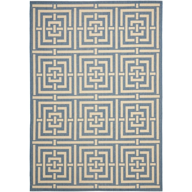 Safavieh Poolside Blue/ Bone Indoor Outdoor Rug (5'3 x 7'7) - Thumbnail 0