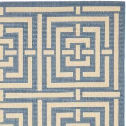 Safavieh Poolside Blue/ Bone Indoor Outdoor Rug (5'3 x 7'7) - Thumbnail 1