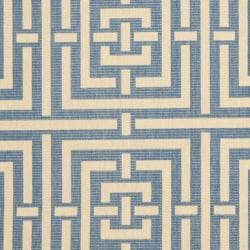Safavieh Poolside Blue/ Bone Indoor Outdoor Rug (5'3 x 7'7) - Thumbnail 2