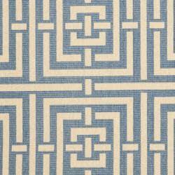 Safavieh Poolside Blue/ Bone Indoor Outdoor Rug (6'7 x 9'6)
