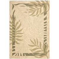 Safavieh Poolside Cream/ Green Indoor Outdoor Rug - 4' x 5'-7""