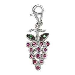 La Preciosa Sterling Silver Red and Green CZ Grape Charm
